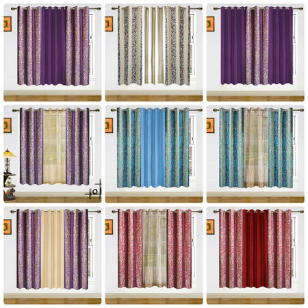 2in1 Altra Solid Mix Curtain-Set of 3 by Dekor World (More Colour)