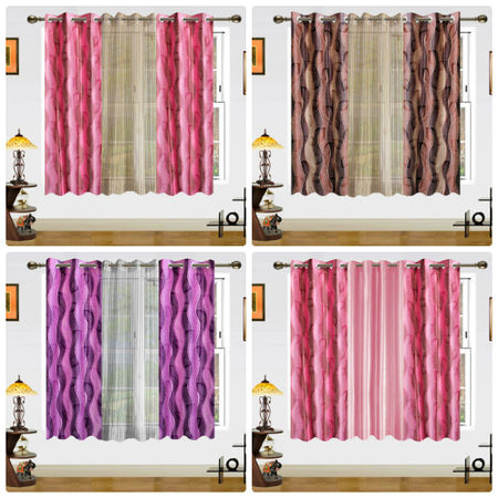 3D Leaf Sheer Mix Curtain-Set of 3 by Dekor World (More Colour)