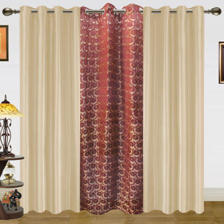 Zari Leaf Sheer Solid Mix Curtain-Set of 3 by Dekor World (More Colour)