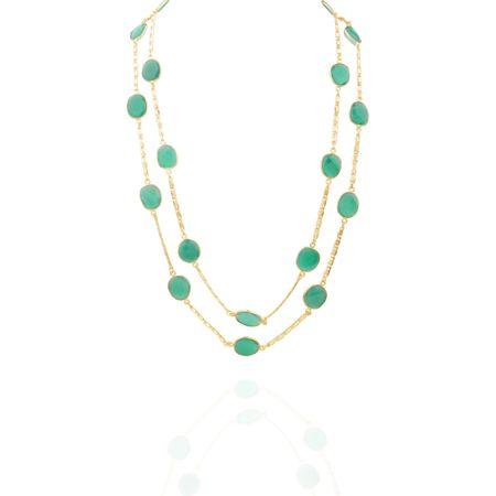 Gold Plated Emerald Detachable Necklace
