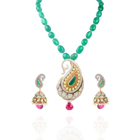 Kundan And Zircon Studded Elegant Necklace Set