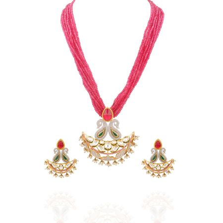 Gold Plated Zircon Studded Lotus And Kundan Necklace Set