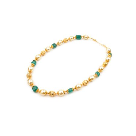 Semi Precious South Sea Pearl And Emerald Necklace