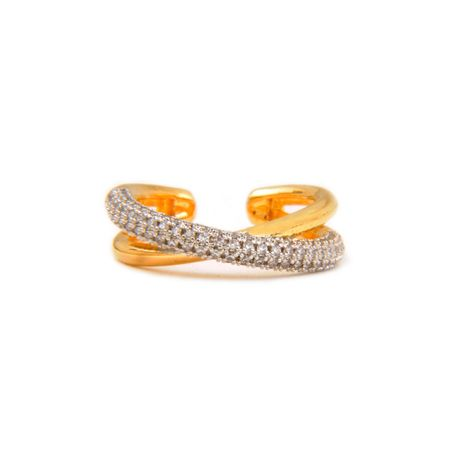 Gold Plated Zircon And Gold Twisted Ring