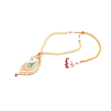 Gold Plated Peacock Enameled Necklace Set