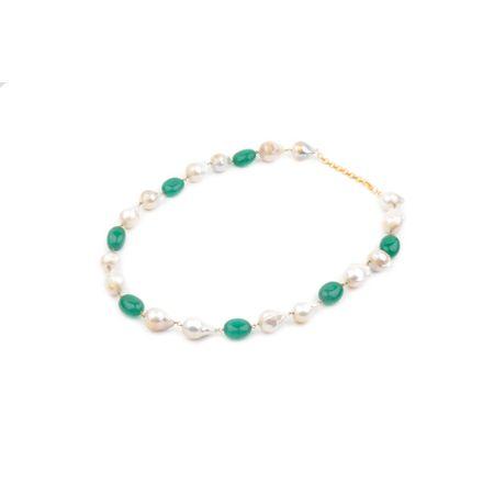 Semi Precious Baroque Pearls And Emerald Necklace
