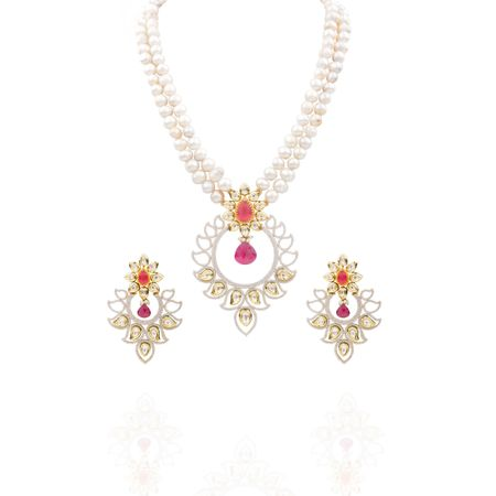 Gold Plated Zircon Studded Kundan Necklace Set