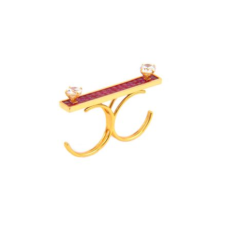 Gold Plated Red Dual Finger Ring