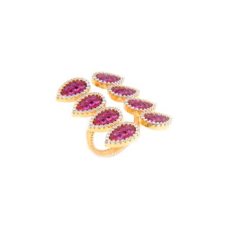 Gold Plated Ruby Exquisite Long Finger Ring