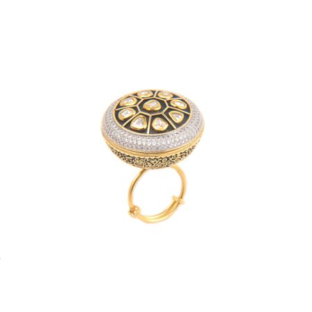 Gold Plated Kundan And Zircon Ring
