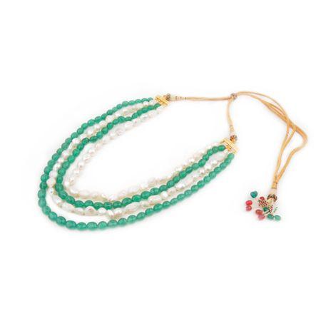 Semi Precious Emerald And Fresh Water Pearl Necklace