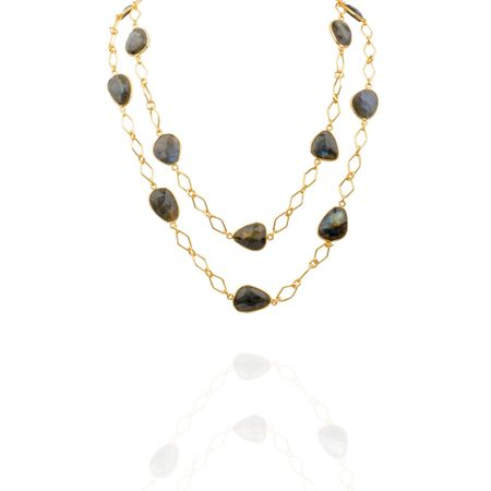 Gold Plated Labradorite Detachable Necklace