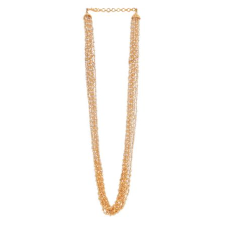 Multiple Strings Gold And Pearl Necklace