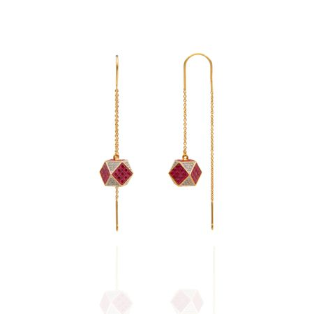 Gold Plated Ruby Sui Dhaga Earrings