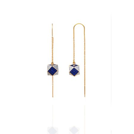 Gold Plated Blue Sui Dhaga Earrings