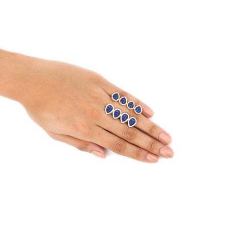 Gold Plated Blue Exquisite Long Finger Ring