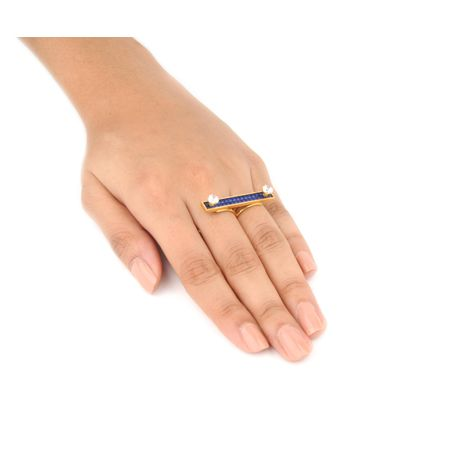 Gold Plated Blue Dual Finger Ring