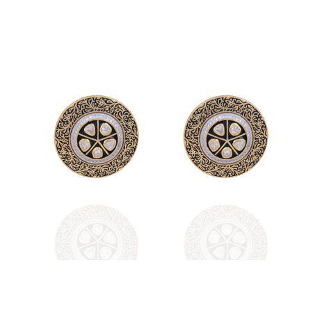 Gold Plated Vilandi And Zircon Stud Earrings