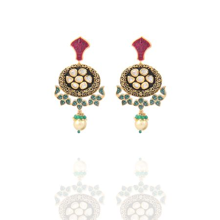 Gold Plated Lotus Earrings