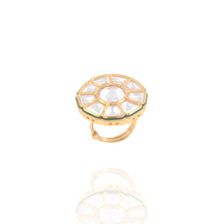Gold Plated Disc Finger Ring