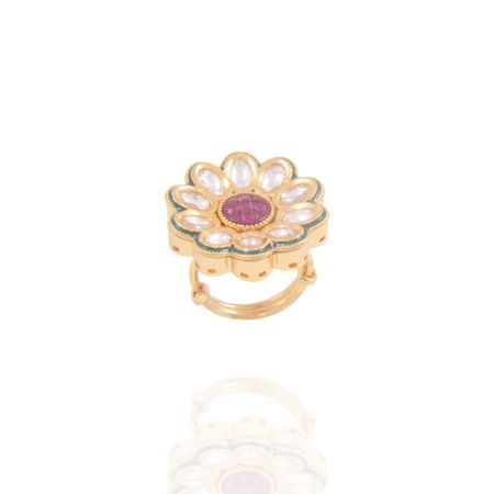 Gold Plated Blossom Finger Ring
