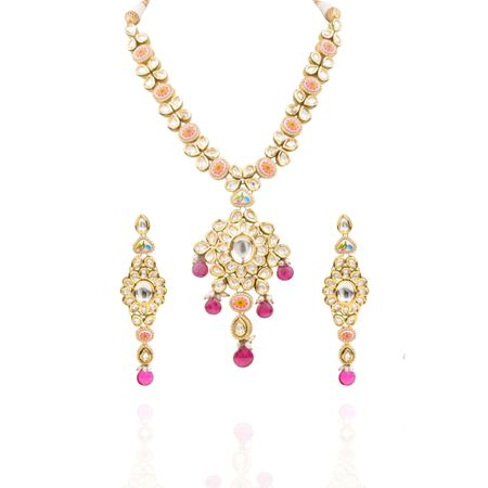 Gold Plated Long Kundan Necklace
