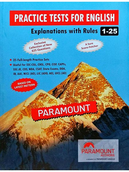Practice Tests For English Explanations With Rules 1-25 By Paramount Experts-(English)