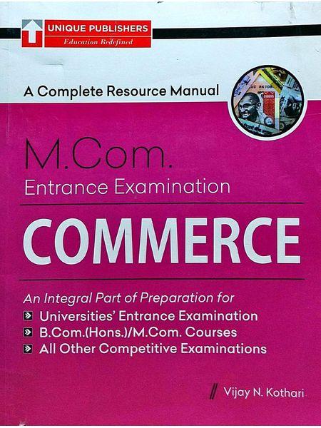 Commerce M.Com Entrance Examination By Vijay N Kothari-(English)