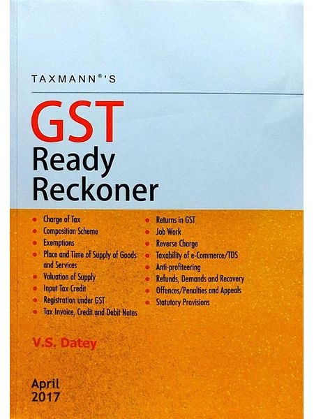Gst Ready Reckoner By V S Datey-(English)