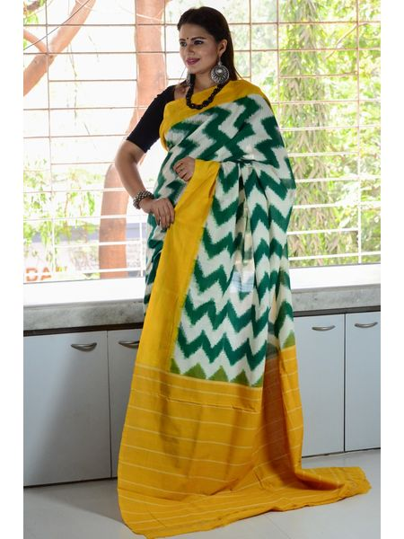 Pure Mercerised Cotton Double Ikat Pochampally Saree
