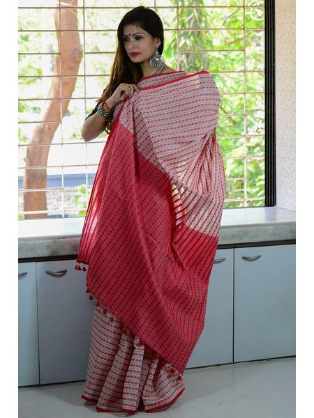 Cotton Khadi Rudraksha Woven Booti Designed Handloom Saree