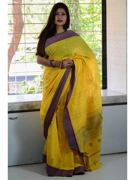 Soft khadi Cotton Ghicha Jamdani Handloom Saree