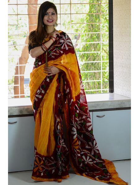 Chanderi Batik Mercerized Silk by Cotton Saree