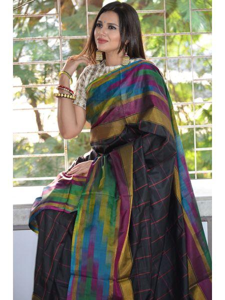 Madhavarm Silk Checkered Bordered Sarees