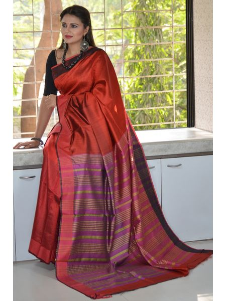Pure bright red tussar silk saree