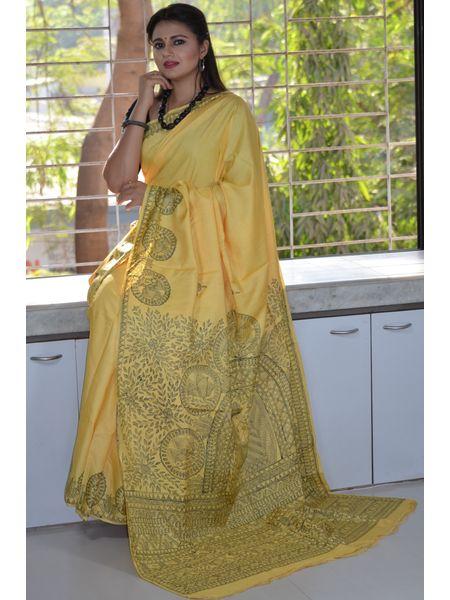 Pure bright Yellow Madhubani Hand Painted Erri silk saree