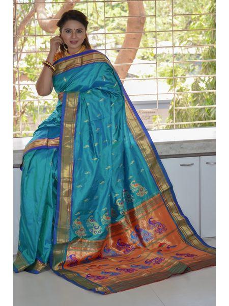 Sky Blue Dhoop Chhaon Traditional Narali Border Peacock Designed Woven Pure Silk Paithani Saree