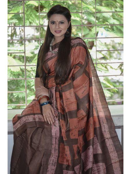 Pure Tussar Batik Silk Saree