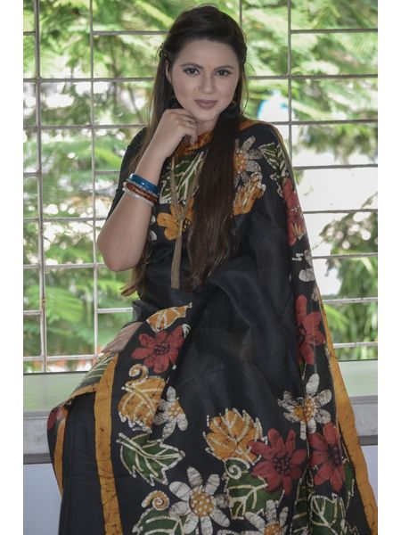 Pure Bishnupuri Silk Batik Saree