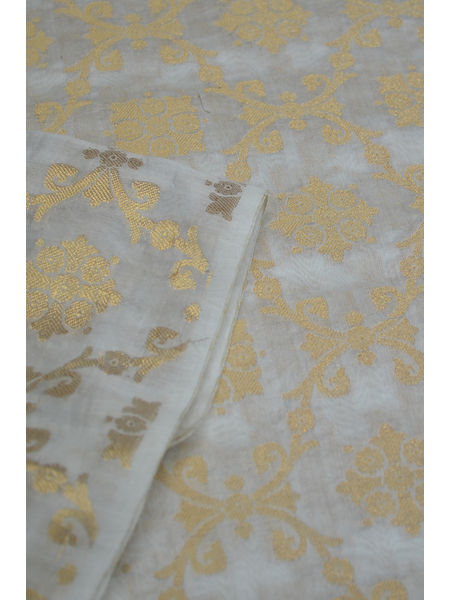 Chanderi  Brocade  Butti Silk Fabric( To buy a quantity of 1.5,2.5,3.5 please call us on 9930655009)