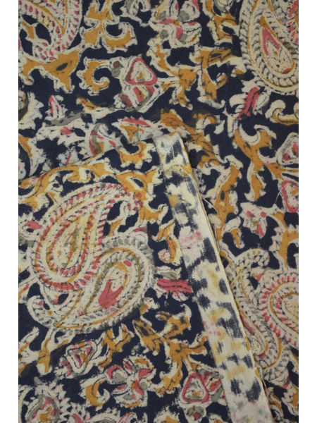 Natural Dyed Kalamkari Block Printed Cotton Fabric ( TO BUY A QUANTITY OF 1.5,2.5,3.5 PLEASE CALL US ON 9930655009)
