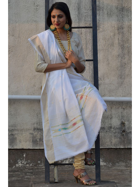 Mercerized Cotton Traditional Narali Bordered Completely Handwoven Paithani Dupatta