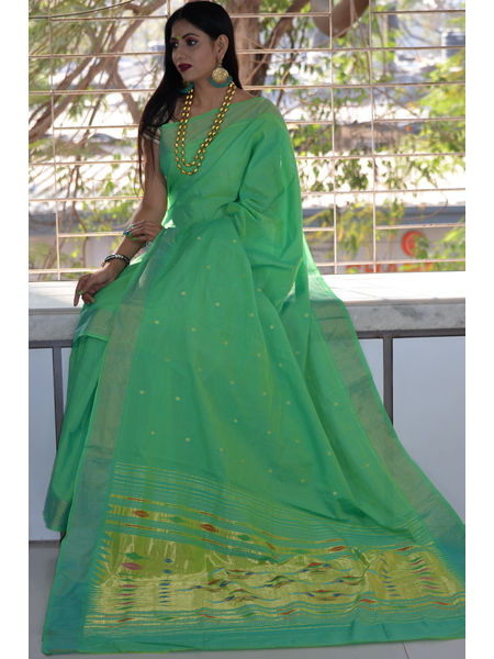 Traditional Narali Border Peacock Designed Woven Pure Mercerised Cotton Paithani Saree