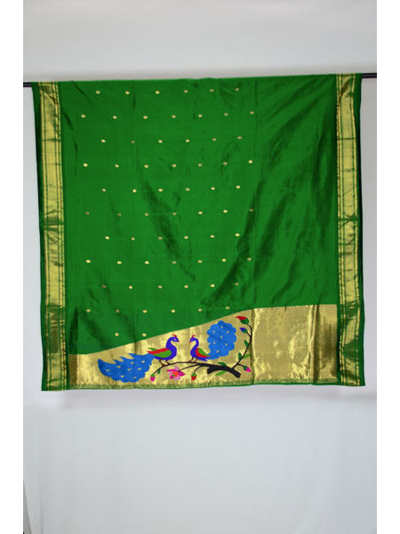 Peacock Design Big Booti Narali Bordered Pure Silk Paithani Suit Piece (Only Top)