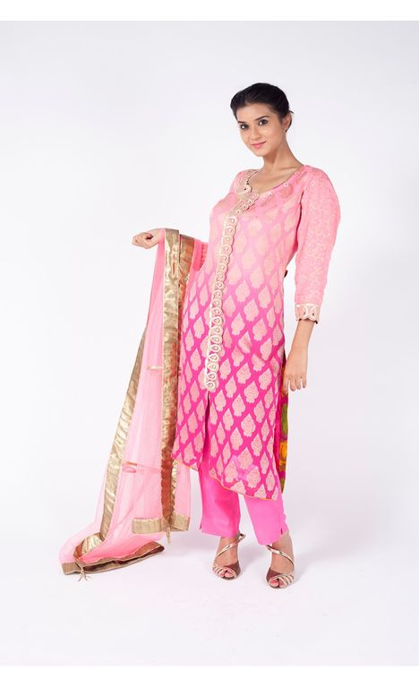 PINK OMBRE EMBROIDERED SHIRT WITH FUSHIA PINK STRAIGHT PANT ALONG WITH FLAMINGO PINK DUPATTA.