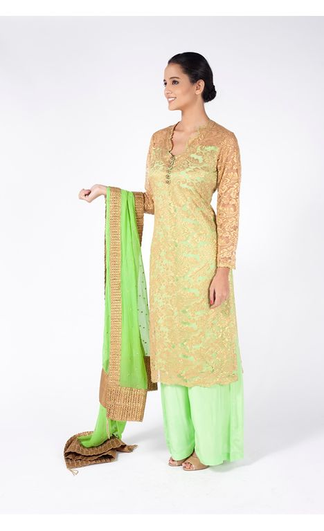 APPLE GREEN EMBROIDERED SHIRT WITH  SHARARA PANT ALONG WITH LAWN GREEN DUPATTA.