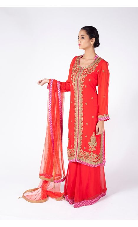 PEACHY ORANGE EMBROIDERED JACKET WITH  SHARARA  ALONG WITH CORAL  DUPATTA.