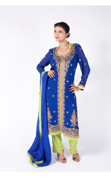 ROYAL BLUE EMBROIDERED JACKET WITH PERIDOT  STRAIGHT PANT  ALONG WITH ROYAL BLUE DUPATTA.