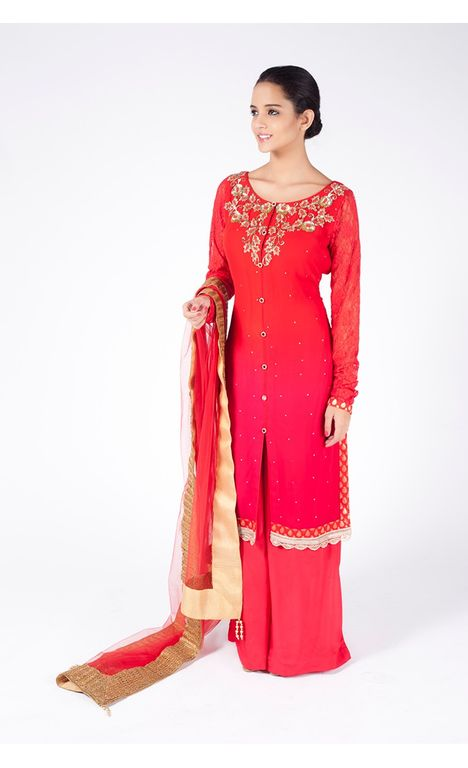 RED OMBRE EMBROIDERED SHIRT WITH  SHARARA PANT ALONG WITH RED DUPATTA.