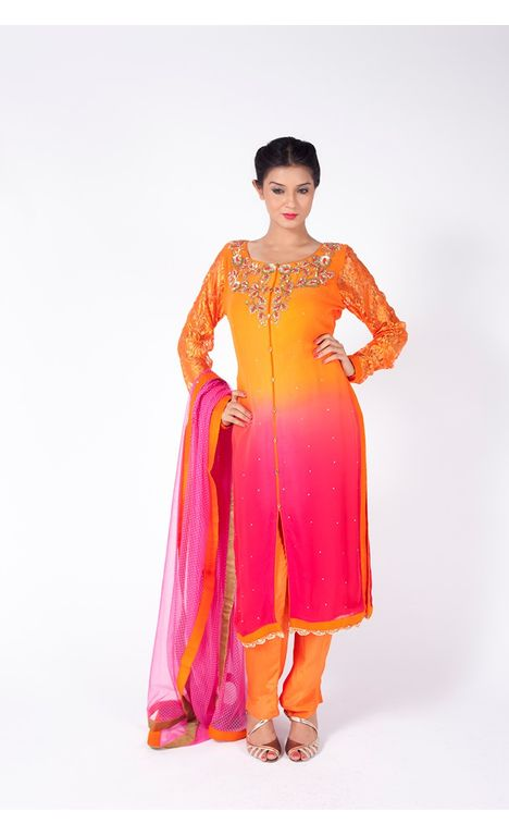 ORANGE AND PINK OMBRE EMBROIDERED SHIRT WITH FESTIVE ORANGE  STRAIGHT PANT  ALONG WITH BARBIE PINK DUPATTA.